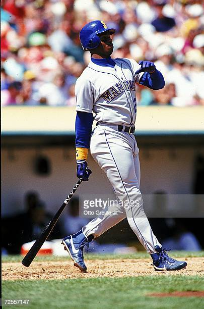 Ken Griffey Jr#24 of the Seattle Mariners hits the ball during a game against the Oakland Athletics Mandatory Credit Otto Greule Jr /Allsport