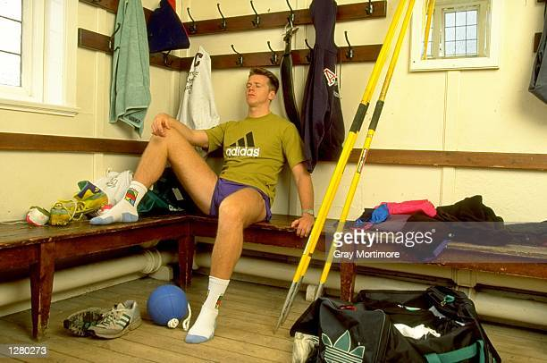 Javelin thrower Steve Backley of Great Britain rests in the dressing room in Loughborough England Mandatory Credit Gray Mortimore/Allsport