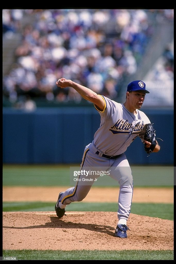 Pitcher Bill Wegman of the Milwaukee Brewers prepares to throw the ball during a game against the Oakland Athletics. Mandatory Credit: Otto Greule /Allsport