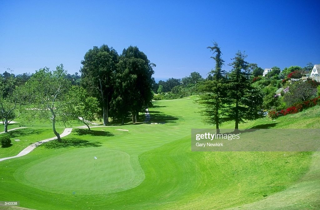 A general view of the 18th hole at the Riviera Country Club in Pacific Palisades California site of the 1995 PGA Championships Mandatory Credit Gary...