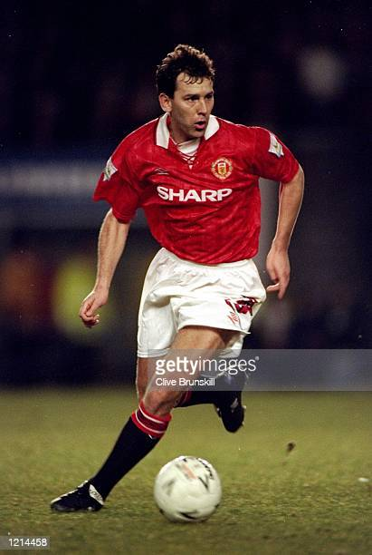 Bryan Robson of Manchester United on the ball in the FA Cup SemiFinal replay against Oldham Athletic at Old Trafford in Manchester England United won...