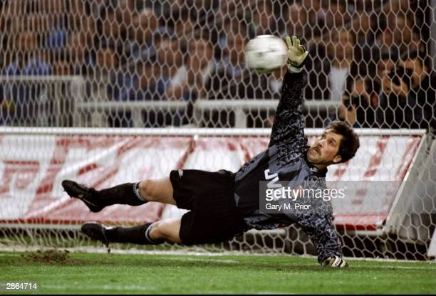 Arsenal keeper David Seaman pulls off a crucial save during the penalty shootout of the European Cup Winners Cup semifinal second leg against...