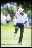 Chi Chi Rodriguez kicks with joy after a good shot at the PGA Senior Championship at the PGA National Resort in Palm Beach Florida Mandatory Credit...