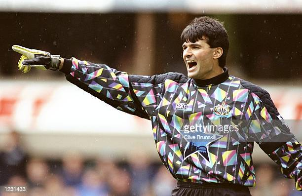 Newcastle United goalkeeper Pavel Srnicek directs his team mates during an FA Carling Premiership match against Leeds United at St James'' Park in...