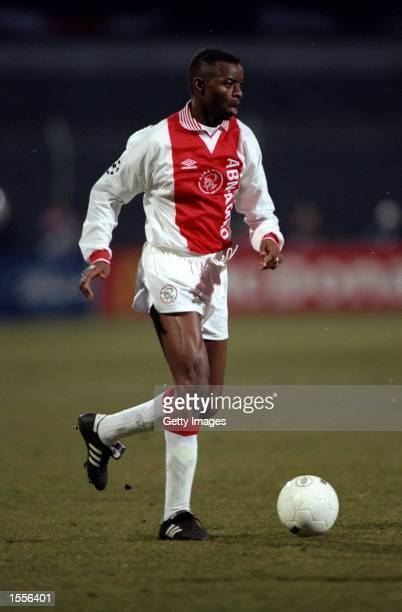 Finidi George of Ajax in action during the European Cup semifinal against Panathinaikos at the Olympic Stadium in Amsterdam Holland Panathinaikos won...