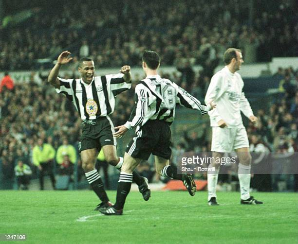 Keith Gillespie pf Newcastle celebrates with Les Ferinand after scoring during the Leeds v Newcastle Premier League match played at Elland Road Leeds...