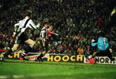 Stan Collymore of Liverpool scores a dramatic last minute winning goal during the FA Carling Premiership match between Liverpool and Newcastle United...