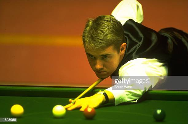 Stephen Hendry of Great Britain prepares to break off during the Embassy World Championships at The Crucible Theatre in Sheffield England Mandatory...