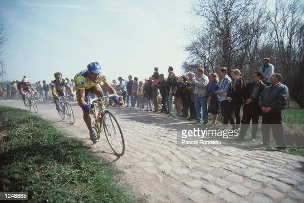 The peleton ride the cobbles in the 100th Paris Roubaix known as the ''Hell of the North'' The race was won by Johan Museeuw of Belgium in a record...