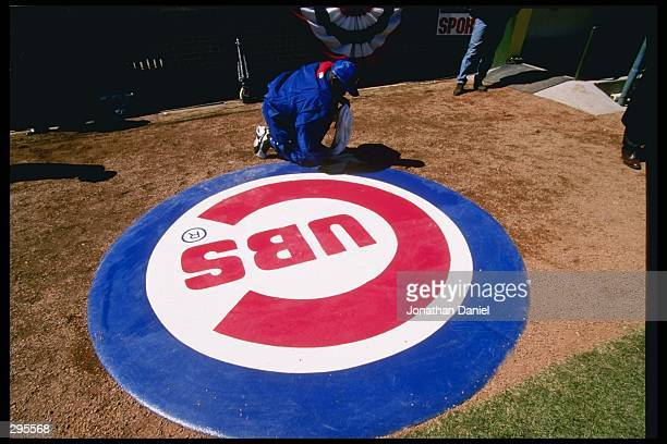 View of the Chicago Cubs logo during a game against the San Diego Padres at Wrigley Field in Chicago Illinois The Cubs won the game 54 Mandatory...