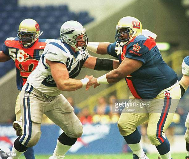 William ''The Fridge'' Perry of the Monarchs blocks a tackle during the London Monarchs v Scottish Claymores World League of American Football game...
