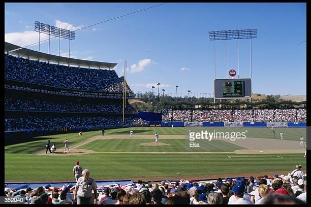 A general view from the seats on the first base side during the Dodgers 30 Opening Day loss to the Philadelphia Phillies at Dodger Stadium in Los...