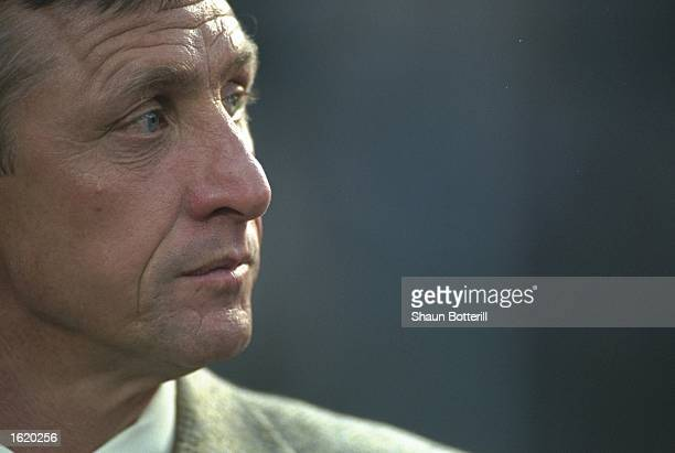 A portrait of ex Ajax player Johan Cruyff watching the Champions League SemiFinal second leg between Juventus and Ajax at the Stadio Della Alpi in...