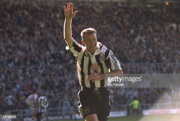 Alan Shearer of Newcastle United celebrates after he scored the equalizer during the Premier League match against Sunderland at St James Park...