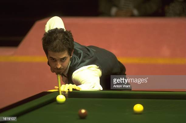 Anthony Hamilton of England at the table during the Embassy World Professional Snooker Championship held at the Crucible Theatre in Sheffield England...