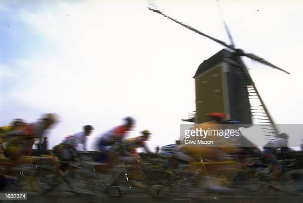 General view of competitors passing a windmill during the Amstel Gold Race in Maastricht Holland Mandatory Credit Clive Mason/Allsport