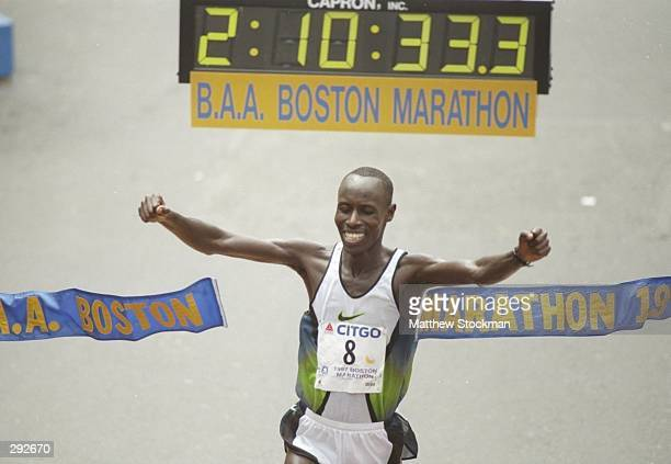 Lameck Aguta celebrates winning the Boston Marathon in Natick Massachusetts Mandatory Credit Matthew Stockman /Allsport