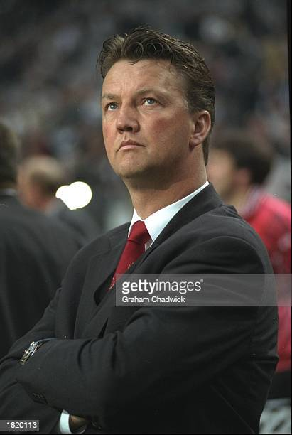 Louis van Gaal the Ajax coach watches his side during the Champions League SemiFinal first leg against Juventus at the Amsterdam Arena in Amsterdam...