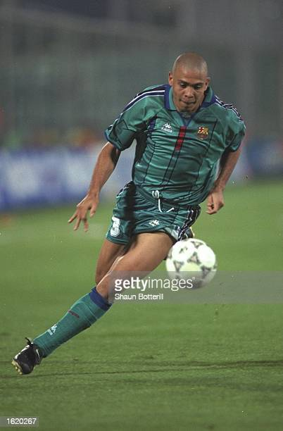 Ronaldo of Barcelona in action during the European Cup Winners Cup SemiFinal second leg against Fiorentina at the Stadio Comunale in Florence Italy...