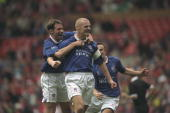 Sean Dyche of Chesterfield receives the congratulations for his goal during the FA Cup SemiFinal against Middlesbrough at Old Trafford in Manchester...