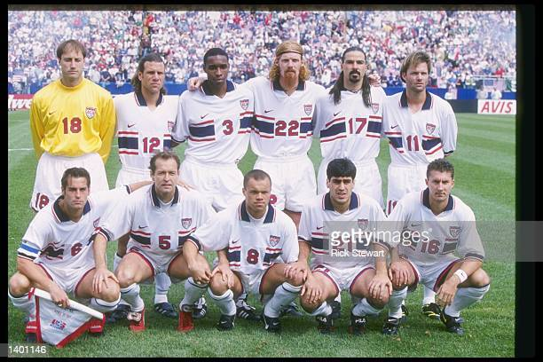 Team USA poses for a photograph before a World Cup game against Mexico at Foxboro Stadium in Foxboro Massachusetts The game ended in a tie 22...