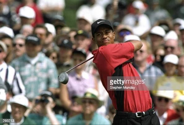 Tiger Woods tees off during the final round of the Masters at the Augusta National Country Club in Augusta Georgia Mandatory Credit Steve Munday...