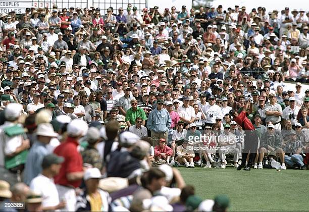 Tigers Woods tees off on the third hole at the Masters Tournament at the Augusta National Golf Course in Augusta Georgia Mandatory Credit Steve...