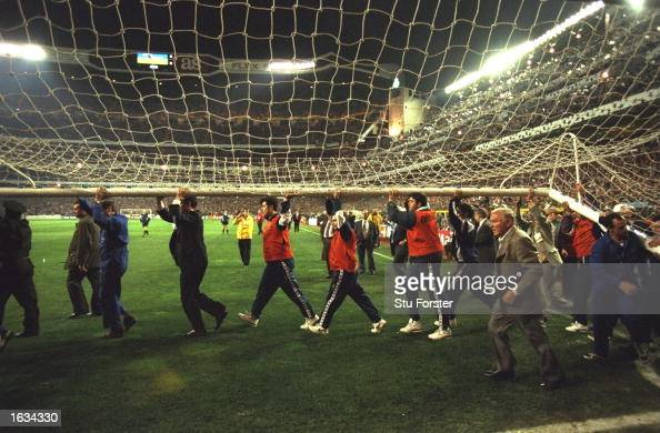 A replacement goal is put into place to replace the old one Stewards and some of the public help before the late kickoff before the match between...