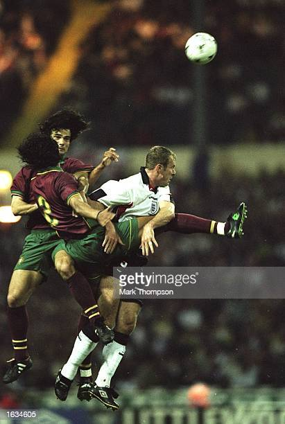 Alan Shearer of England rises high for a header during the International Friendly game against Portugal at Wembley in London England won 30 Mandatory...