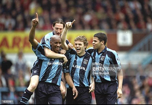 Celebration for Coventry as they score the equaliser in a match between Coventry v Liverpool in the FA Caling Premiership played at Highfield Road...
