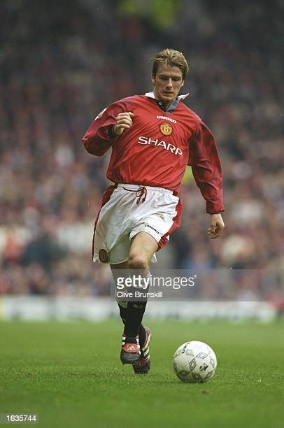 David Beckham of Manchester United in action during an FA Carling Premiership match against Newcastle United at Old Trafford in Manchester England...