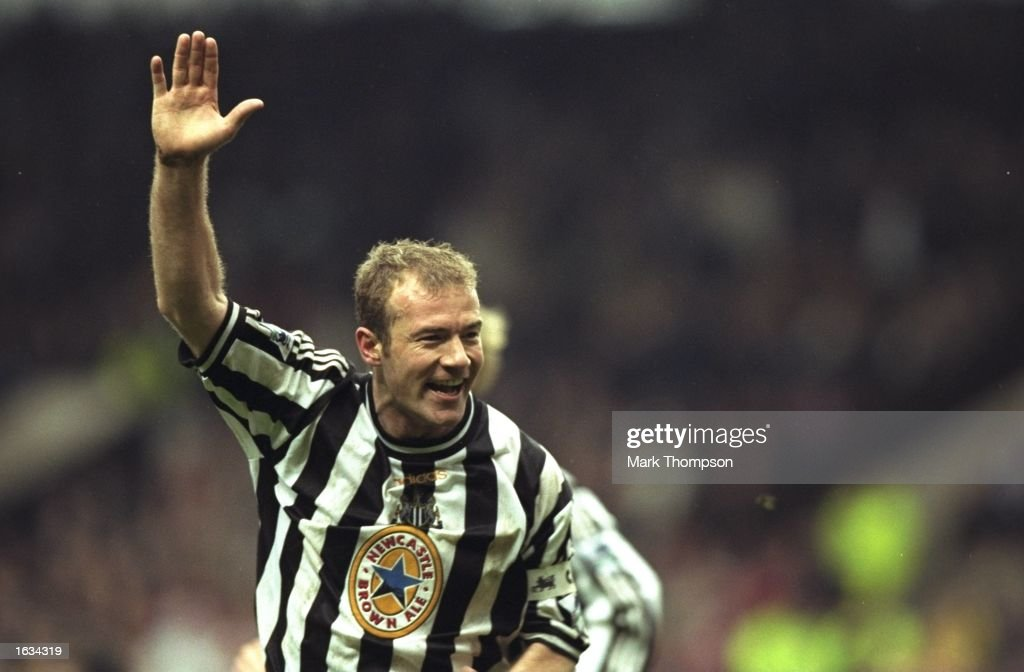 Joy for Alan Shearer of Newcastle as he scores the winning goal during the match between Newcastle United and Sheffield United in the SemiFinals of...