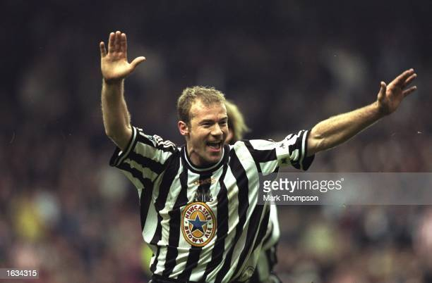 Newcastle's Alan Shearer celebrates scoring the winning goal during the match between Newcastle United and Sheffield United in the SemiFinals of the...