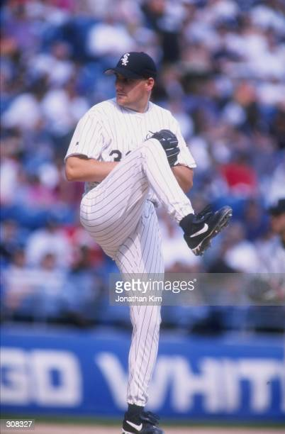 Pitcher Scott Fyre of the Chicago White Sox in action during a game against the Tampa Bay Devil Rays at Comiskey Park in Chicago Illinois The Devil...
