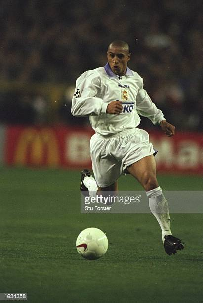 Roberto Carlos of Brazil and Real Madrid in action during the match between Real Madrid and Borussia Dortmund in the Champions League SemiFinal...