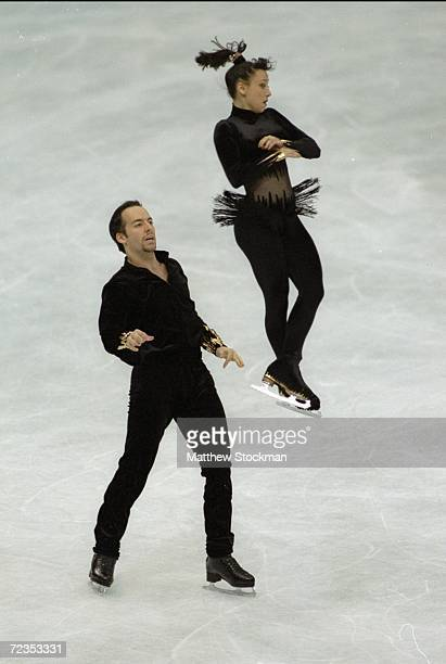 Sarah Abitbol/Fra skates with her partner Stephene Bernardis/Fra in the Pairs competition during the Wolrd Figure Skating Championships at Target...