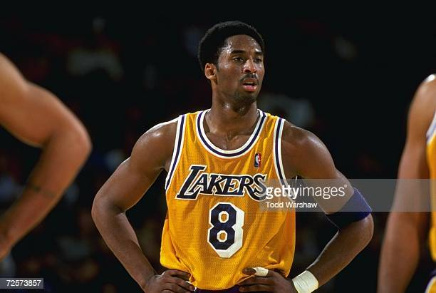 A close up of Kobe Bryant of the Los Angeles Lakers as he looks on from the court during the game against the Portland Trailblazers at the Great...