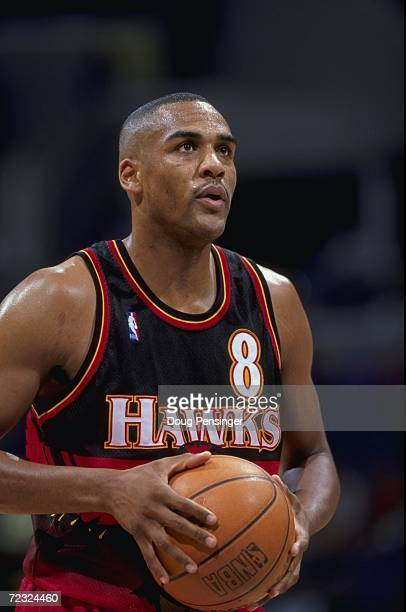 A close up of Steve Smith of the Atlanta Hawks as he gets ready to shoot a free throw during the game against the Washington Wizards at the MCI...