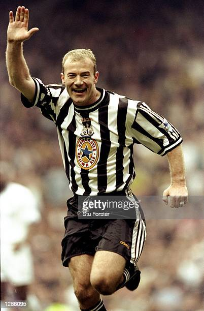 Alan Shearer of Newcastle United celebrates one of his two goals in the FA Cup semifinal against Tottenham Hotspur at Old Trafford in Manchester...