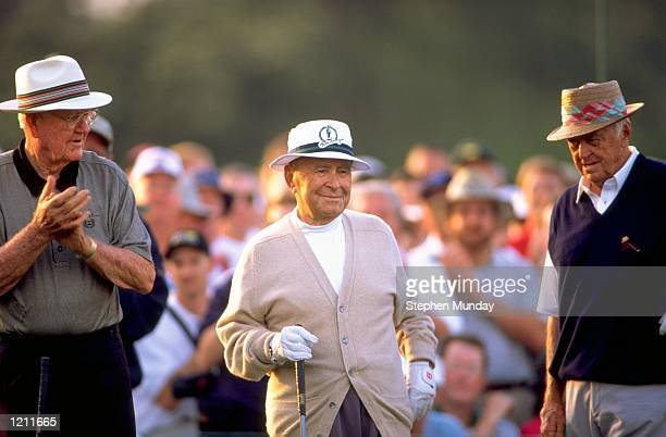 Byron Nelson Gene Sarazen and Sam Snead prepare to start the 1999 US Masters at the Augusta National GC in Augusta Georgia USA Mandatory Credit...