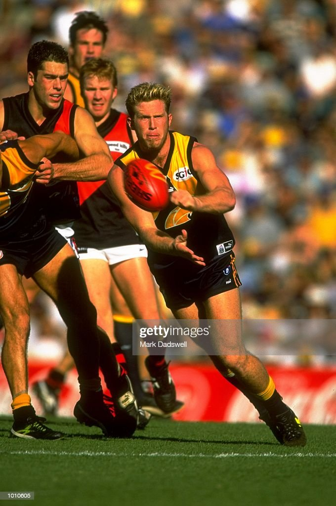 Chad Morrison of the West Coast Eagles in action during the 1999 AFL Premiership Round 4 match, where the West Coast (97) defeated Essendon (23) at the Subiaco Oval, Perth, Australia. \ Mandatory Credit: Mark Dadswell /Allsport