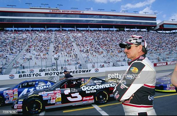 Dale Earnhardt looking on during practice for the Food City 500 of the NASCAR Winston Cup Series at the Bristol Motor Speedway in Bristol Tennessee...