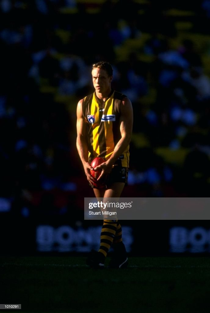 Daniel Chick of the Hawthorn Hawks in action during the AFL Premiership Round 5 match against the West Coast Eagles at Waverley Park, Melbourne, Australia. The game finished with West Coast (94) defeating Hawthorn (68). \ Mandatory Credit: Stuart Milligan /Allsport
