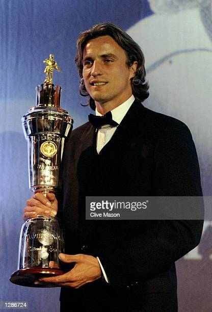 David Ginola of Tottenham Hotspur is named PFA Player of the Year at the PFA Awards Ceremony at the Grosvenor House Hotel in London Mandatory Credit...