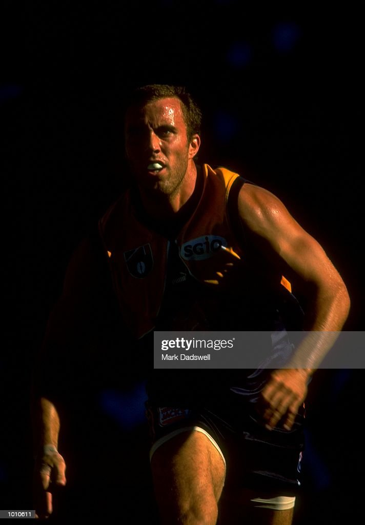 Fraser Gehrig of the West Coast Eagles in action during the 1999 AFL Premiership Round 4 match, where the West Coast (97) defeated Essendon (23) at the Subiaco Oval, Perth, Australia. \ Mandatory Credit: Mark Dadswell /Allsport