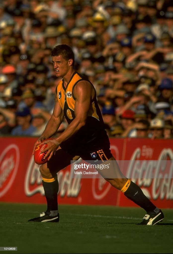 Glen Jakovich of the West Coast Eagles in action during the 1999 AFL Premiership Round 4 match, where the West Coast (97) defeated Essendon (23) at the Subiaco Oval, Perth, Australia. \ Mandatory Credit: Mark Dadswell /Allsport