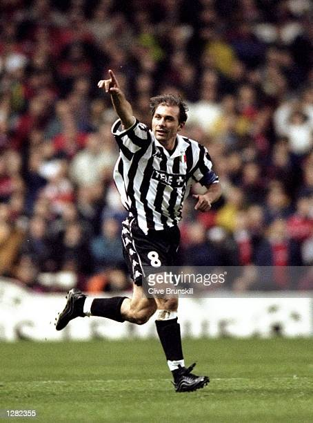 Juventus captain Antonio Conte celebrates his goal against Manchester United in the UEFA Champions League semifinal first leg match at Old Trafford...
