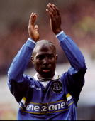 Kevin Campbell of Everton shows his appreciation during the FA Carling Premeirship match against Charlton at the Goodison Park in Liverpool England...