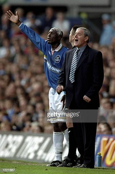 Kevin Campbell of Everton waits to come back on to the pitch as his manager Walter Smith tries to attract the attention of the referee during the FA...