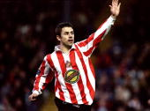 Kevin Phillips of Sunderland celebrates the first of his first goals in the Nationwide Division One match against Bury at Gigg Lane in Bury England...